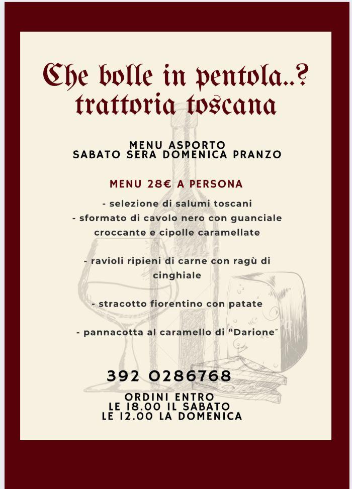 menu ristorante Che Bolle in Pentola marzo 2021